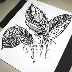 Three Feathers . Original Pen Drawing . Abstract Feathers