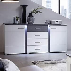 Kommode Braun Weiß : sideboard spurt mit led anrichte kommode wohnzimmer wei ~ A.2002-acura-tl-radio.info Haus und Dekorationen