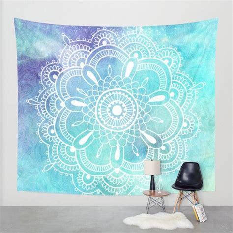 aqua purple galaxy mandala wall tapestry tapestry