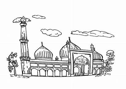 Mosque Coloring Pages Coloringway Building Template