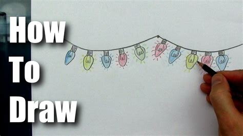 how to draw easy christmas lights youtube