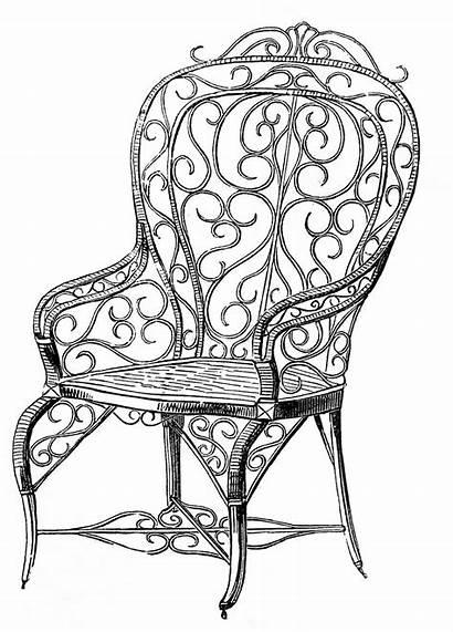 Chair Garden Wicker Clipart Clip Antique Fairy