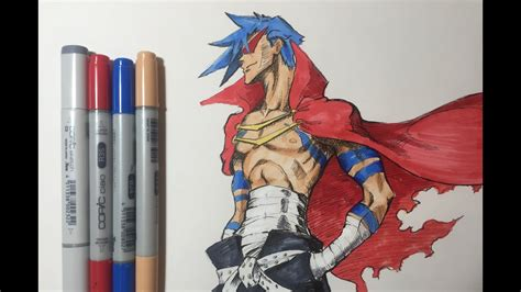 kamina  gurren lagann copic speed draw youtube