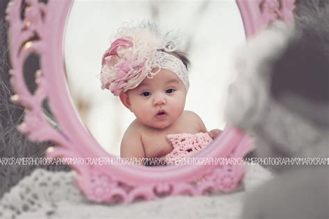 baby girl photo idea  months  baby  mirror