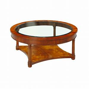 Mahogany circular coffee table with glass top for Circular glass top coffee table