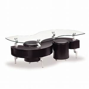 global t288 glass coffee table in black w black stools With black coffee table with stools
