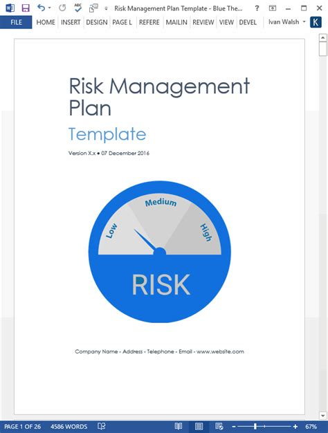 risk management plan template ms wordexcel templates