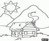 Cabin Coloring Mountain Log Pages Cabins Sketch Template Printable Bergen Woods Templates Sketches Draw sketch template