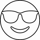Coloring Emoji Sunglass Pages Template sketch template