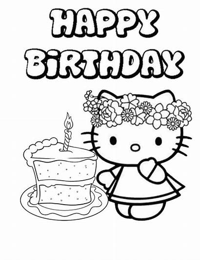 Birthday Coloring Happy Pages Kitty Hello Printable