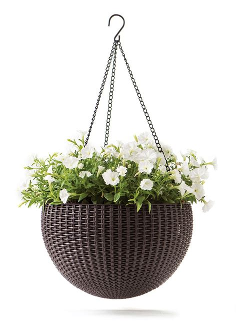 keter rattan effect anthracite hanging planter  mm