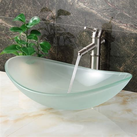 Glass Bathroom Vessel Sinks by Elite Gd33f Unique Oval Frosted Tempered Glass Bathroom