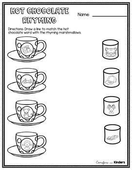 rhyming sort activity hot chocolate theme cvc words