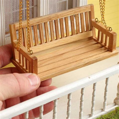 dollhouse miniature wood bench porch swing miniature