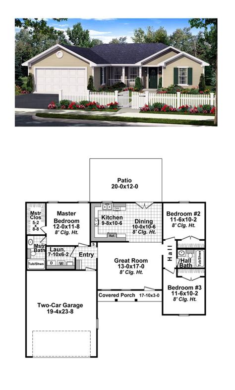 ranch style cool house plan id chp  total living area  sq ft  bedrooms