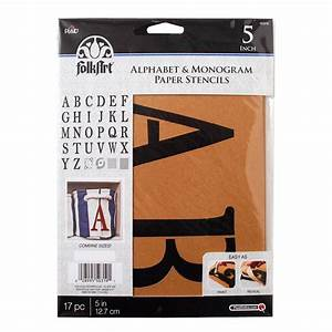 folkart serif 5 in alphabet and monogram paper stencil With stencil letters home depot