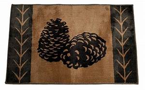 Pinecone bath mat for a rustic cabin or lodge bathroom for Cabin bathroom rugs