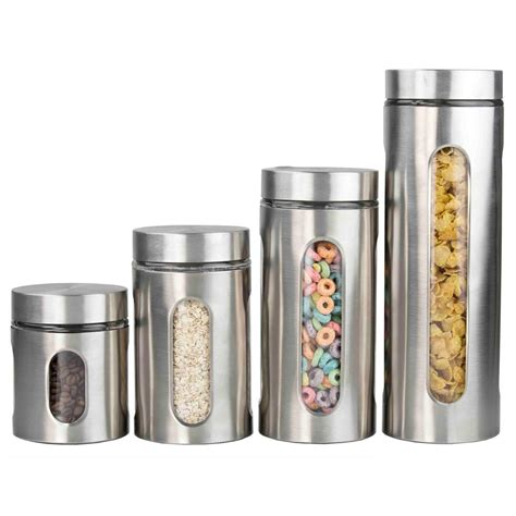 stainless steel kitchen canister sets home basics 4 stainless steel canister set cs44445