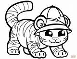 Tiger Coloring Cute Cap Pages Tigers Printable Drawing Preschool Caps Cartoon Library Comments Supercoloring sketch template