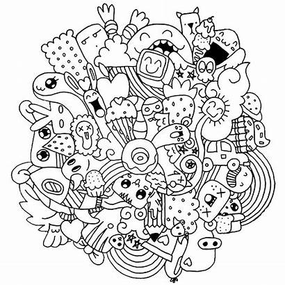 Doodle Coloring Pages Adults Doodling Creatures Printable