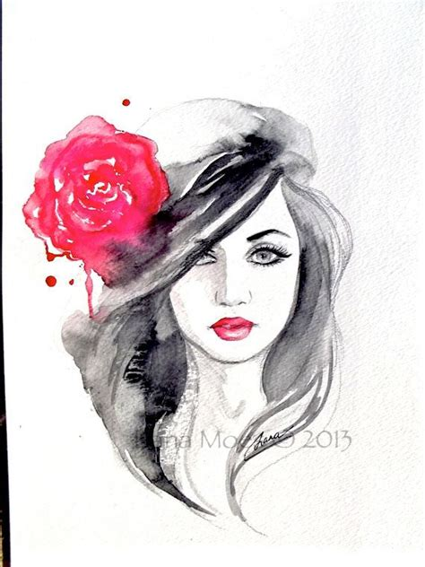 original fashion watercolor painting contemporary modern wall i