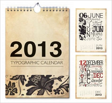 20 new year 2013 calendar designs for inspiration