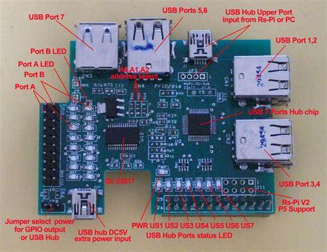 Rs-pi 7 Ports Usb Hub & I2c 23017 X1 16 Bit Gpio Function