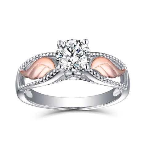 """""""angel Wings"""" Round Cut White Sapphire Rose Gold Sterling. Metal Wire Rings. Oval Style Engagement Rings. Bridesmaid Rings. Bridesmaid Wedding Rings. P Name Rings. Batman Engagement Rings. Court Wedding Wedding Rings. Radiant Diamond Wedding Rings"""
