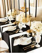 Table Decorations Black And White Theme Black White Gold Runners Going Perpendicular To Table Wedding Day