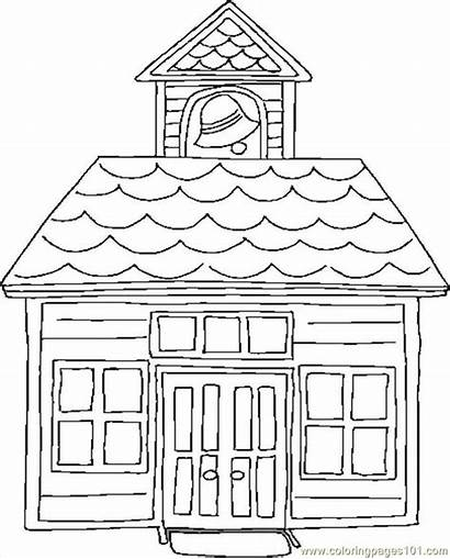 Coloring Pages Printable Schoolhouse Building Houses Coloringpages101