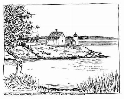 Coloring Pages Lighthouse Adults Lake Island Adult