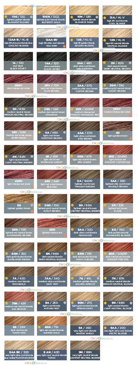 clairol color chart 8 best images of clairol hair color shade chart chestnut