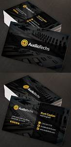 Corporate creative business card psd templates design for Audio engineer business card