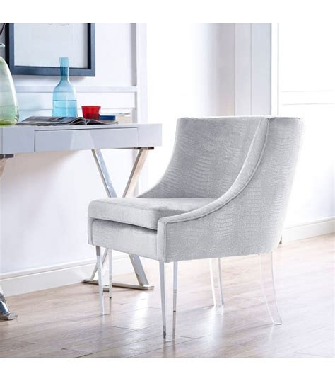 light grey silver croc velvet accent chair acrylic legs