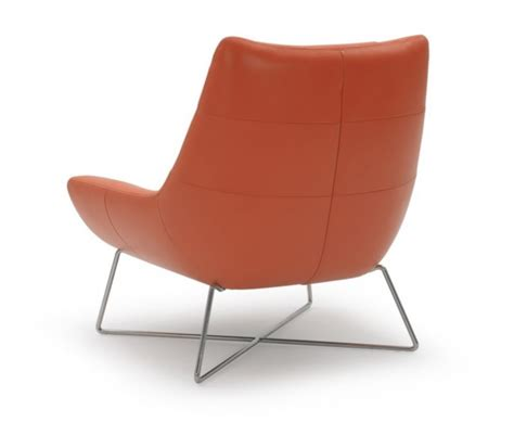 modern orange leather and stainless steel lounge chair