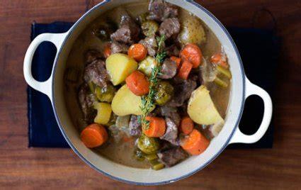 beer braised beef stew  brussels sprouts  foods