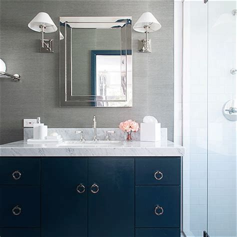blue bathroom vanity transitional bathroom