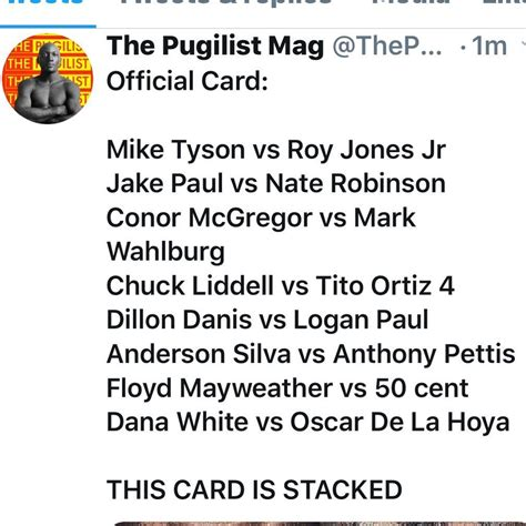How to watch, start time, predictions. Official Card: Mike Tyson vs Roy Jones Jr Jake Paul vs Nate Robinson Conor McGregor vs Mark ...