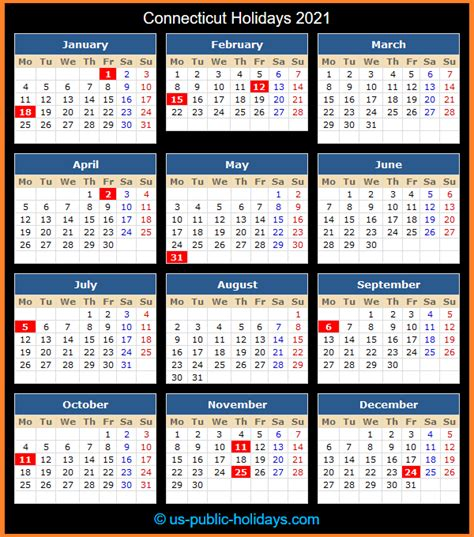 From government holidays in 2021, hindu holidays 2021 to islamic holidays 2021, christian holidays 2021 and. Connecticut Holidays 2021