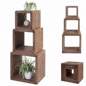 Holz Vintage Look : 3x w rfelregal trani standregal beistelltisch shabby look vintage massiv holz dunkelbraun ~ Eleganceandgraceweddings.com Haus und Dekorationen