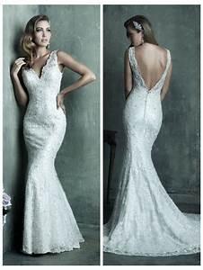 dreamy lace sheath v neck wedding dress with deep v back With deep v lace wedding dress