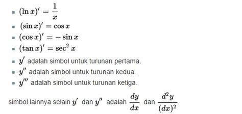 rumus turunan matematika  contoh soal lengkap