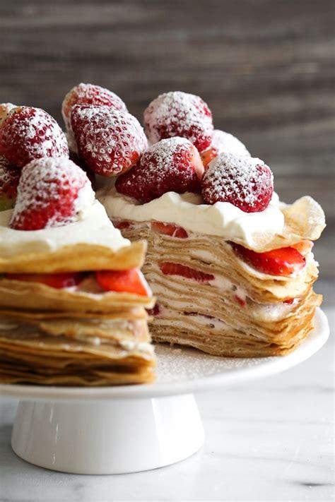 bake strawberries  cream crepe cake