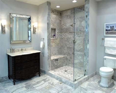 elegant bathroom featuring claros silver travertine