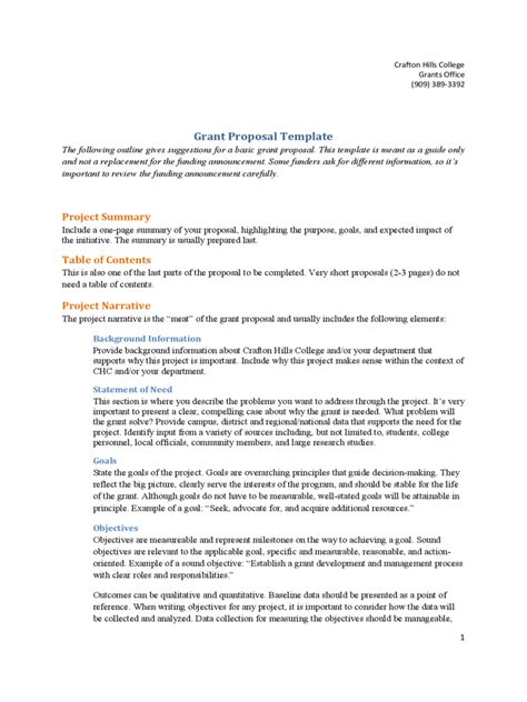 grant proposal template fillable printable
