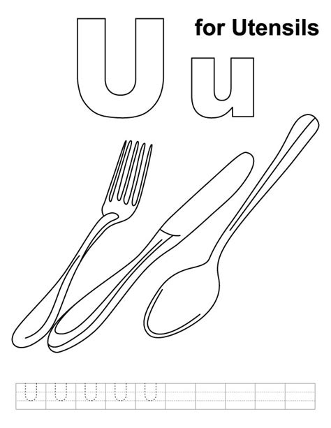 utensils coloring page  handwriting practice