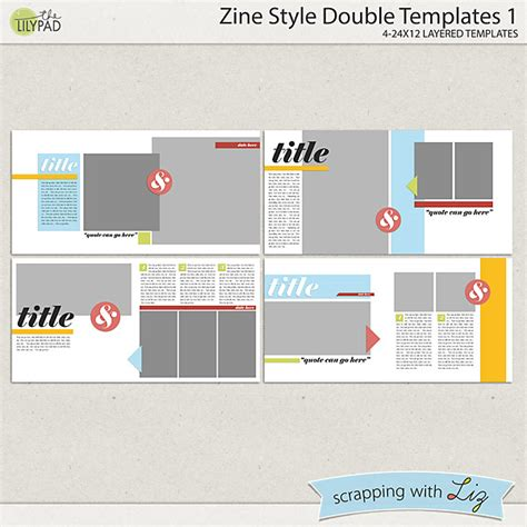 Zine Template Digital Scrapbook Template Zine Style 1
