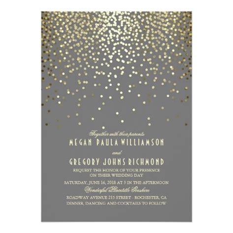 gold confetti dots elegant  vintage wedding invitation