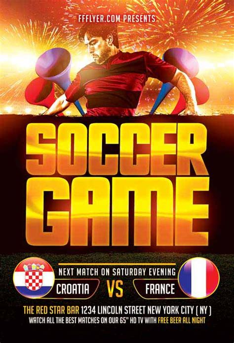 Download Game World Template by Download The Soccer Game Free Flyer Template