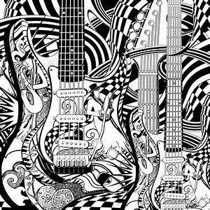 Adult Coloring Page Printable Guitar Coloring By JuleezGallery Music Related Pages To Color